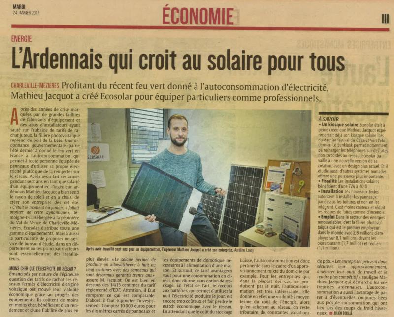 Article ardennais page économique du mardi 24 janvier 2017