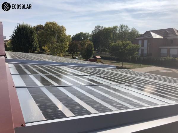 Préau école avec panneaux photovoltaïques transparents 9 kWc